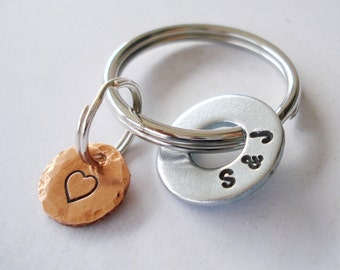 Personalized Key Chain with Hardware Washer & Copper Disc