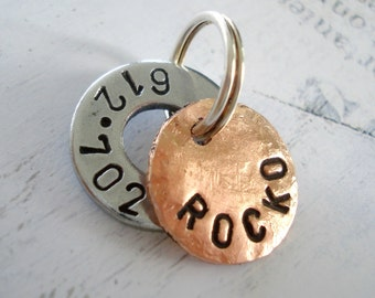 Cat Pet Tag - Small Dog Tag - Personalized - ID Tag - Hand Stamped Washer and Copper Disc with phone number and name