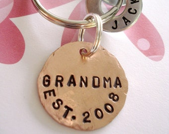 GRANDMA Key Chain - Personalized Hand Stamped Key Chain - Copper Disc & Washers