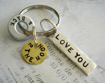 LOVE YOU 2 the moon & back - Hand Stamped Washer, Aluminum Rectangle and Brass Disc