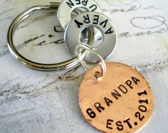 Grandpa Gift Personalized Christmas Keychain - Grandparent Birthday - Hand Stamped Key Chain - GRANDPA EST. Washer Key Chain and Copper Disc