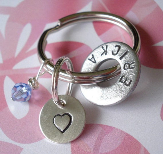 Hand Stamped Gift for a Friend - Sterling Silver Disc, Hardware Washer & Swarovski Crystal Key Chain