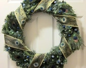 SALE - Peacock Feather Wreath-Reserved for Annalee2465