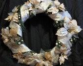 SALE - Peach and Gold Poinsettia Wreath