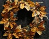 SALE - Copper and Gold Poinsettia Wreath