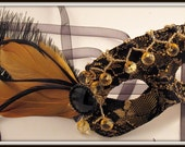 Gold and Black Lace Masquerade Mask