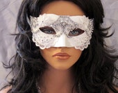White Bridal Bling Masquerade Mask