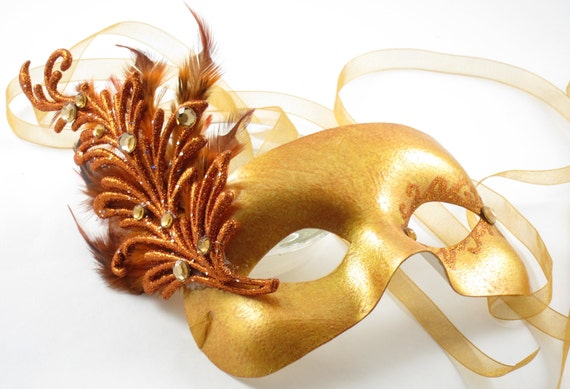 Reserved for ChairyBlossoms - Golden Fire Masquerade Mask