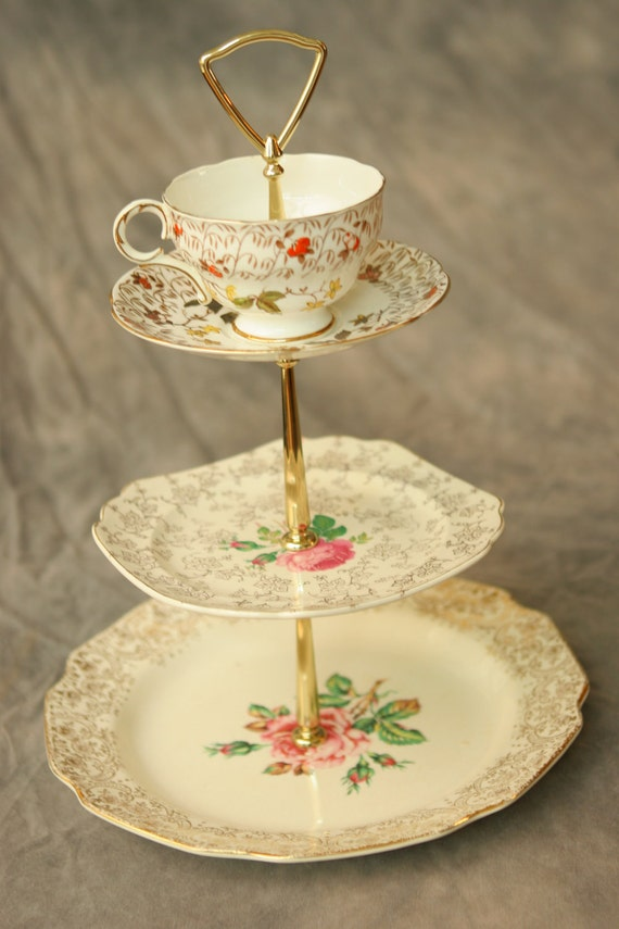 Unique vintage china tea stand with gold and orange - great antique find - FREE SHIPPING