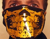 The Original og EGOLOGICS GANGSTER GOLD skull black bandana bandit mask scarf gaiter wrap half face neck warmer dust shield Saints grill