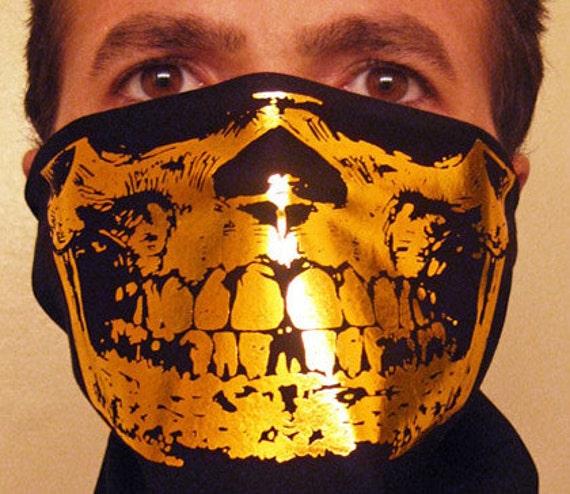 The Original Og Egologics Gangster Gold Skull Black Bandana
