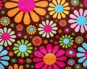 Floral Fabric, Cuddle Minky Chenille Kaufman Flower Child, 1 Yard
