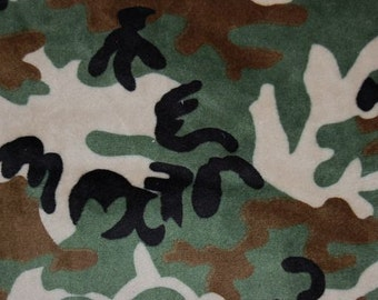 Camouflage Chenille Minky Fabric 1 Yard