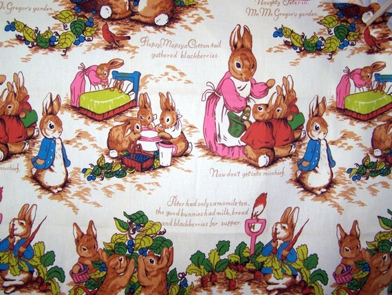 "Vintage Beatrix Potter Fabric by Riverdale, 45"" Wide, 38"" Length, Great Nursery Print"