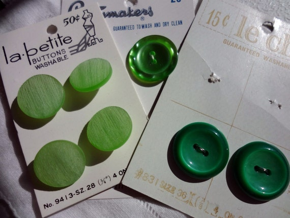 Vintage Green Buttons on Cards