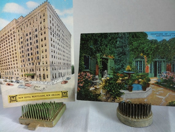 Vintage New Orleans Postcards, Hotel Monteleone and Little Theatre Courtyard