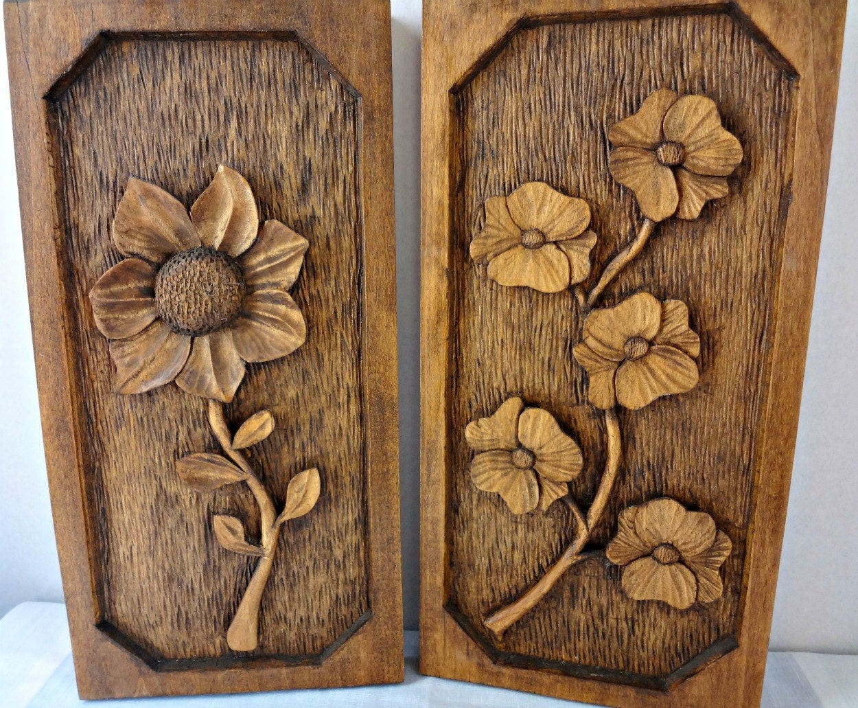 Vintage hand carved wood wall hanging flowers botanicals