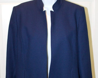 Vintage Saphire Blue Jacket with Plum Lining - Military Style Coat - Great Gift for Her - Excellent Condition