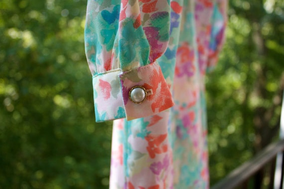 Beautiful Pastel Floral Dress - Shabby Chic Clothing - Vintage 1980s - Excellent Condition