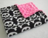Skull Baby Blanket with Hot Pink Minky Swirl