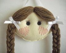 Doll Face Hair Clip Holder - Light skin with Light Brown Hair - Barrette Holder - Felt Hair Clip Holder - Custom Hair Clip Holder