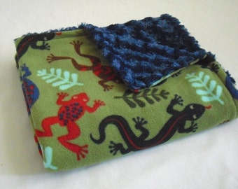 Baby Blanket - Lizard and Frog Baby Blanket with Blue Minky Swirl - Baby Boy Blanket - Frog Blanket - Lizard Blanket - Minky Blanket