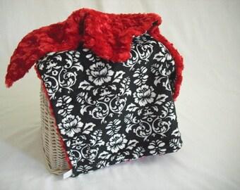 Victorian Damask Minky Travel Blanket with Red Minky Swirl - Minky Lovey - Minky Security Blanket - Damask Blanket - Damask Security Blanket