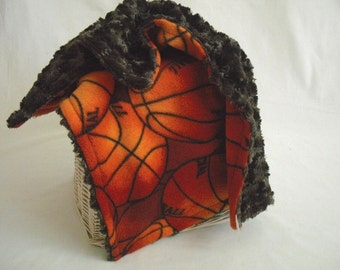 Basketball Travel Blanket with Brown Minky Swirl - Lovey Blanket - Security Blanket - Boy Security Blanket