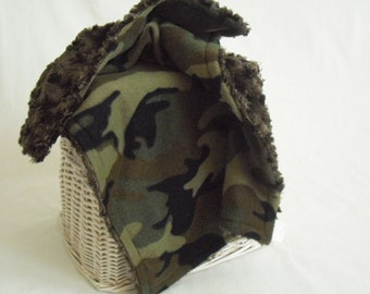 Camouflage Travel Blanket with Chocolate Brown Minky Swirl - Boy Lovey Blanket - Security Blanket - Camo Blanket - Military