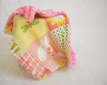 Animal Safari Travel Blanket with Hot Pink Minky Swirl - Animal Security Blanket - Baby Girl Lovey - Minky Lovey - Minky Security Blanket