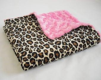 Leopard Minky Baby Blanket with Hot Pink Minky Swirl