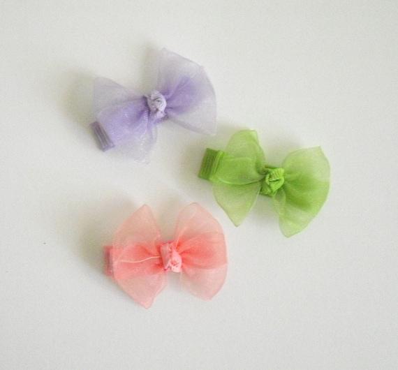 You Pick - 6 Itty Bitty Sheer Bows - Hair Bows - No Slip Grip - Bow Clips - Baby Hair Bows - Small Hair Bows - Hairbows - Custom Bows