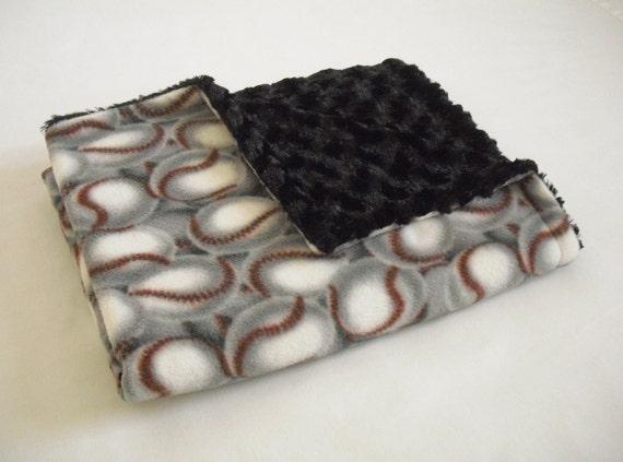 Baseball Baby Blanket with Super Soft Black Minky Swirl