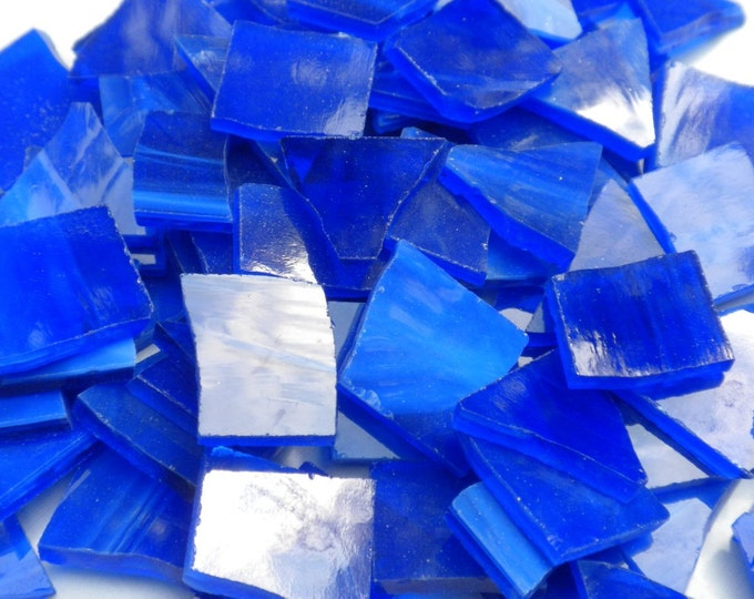 Stained Glass Mosaic Tiles in Royal Blue - 1/2 Pound - Not Quite Cobalt Blue - Tumbled Glass