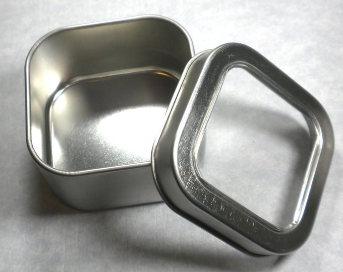 Square Tin with Clear Lid - 4 ounces -  Seamless - Use for your Pendants Magnets and other Gifts Favors and Goodies - 12