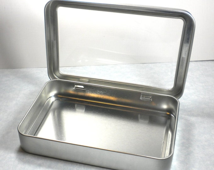 Rectangular Window Tins - Extra Large Hinged - Use for your Pendants Magnets and other Gifts Favors and Goodies or Storage - Set of 12