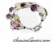 FREE S&H - Chunky Lampwork Glass Bracelet - 3 Rows - Pink, Purple, Green, Silver Theme