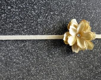 Ivory cream silk, layered flower with swarovski crystal center on skinny, natural headband