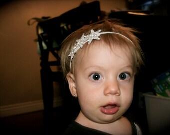 Small star triple Glass Glitter triple star skinny elastic headband hair clip for baby child or adult