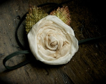 Creme brulee distressed rose skinny headband hair clip