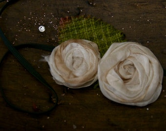 double distressed skinny rose headband hair clip in double creme