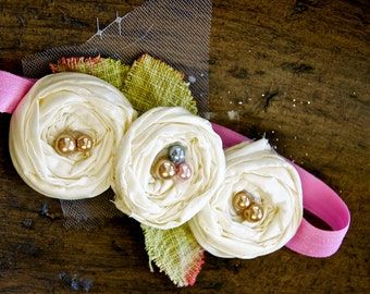 Perfect Day skinny elastic headband triple rose flower headband with pearls leaves for baby girl or adult