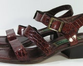 cole haan sandals womens 6 B brown slingback strappy alligator embossed leather vintage shoes