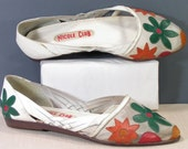 huaraches womens 7.5 b m flower bloom white shoes flats orange green red breathable summer espadrilles