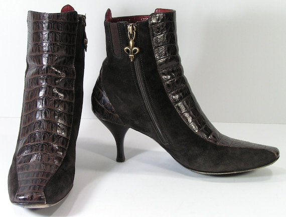 ankle elastic booties womens 6.5 B M brown boots zipper stiletto alligator embossed suede leather granny