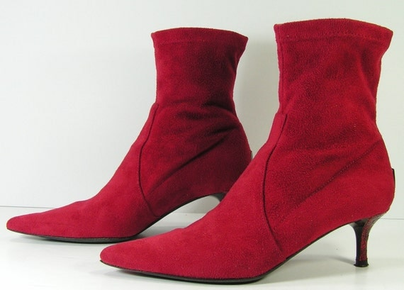 ankle boots womens 6 b m red granny booties stilettos heels shoes punk grunge pixie barn