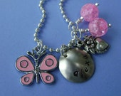 Hand Stamped Custom BEAUTIFUL BUTTERFLY Necklace for Children