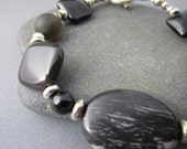 Black Semi Precious Bracelet with Onyx and Jasper sold with earrings
