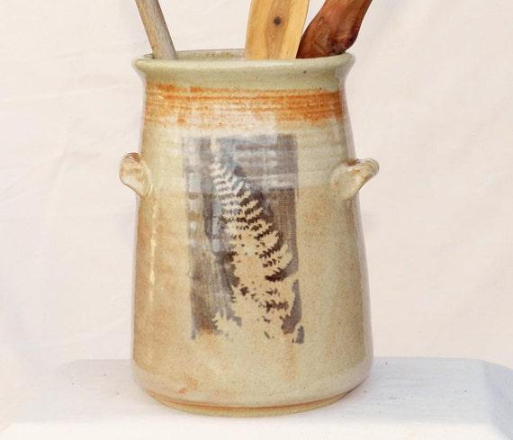 Red Fern Counter Crock, Utensil holder, Stoneware