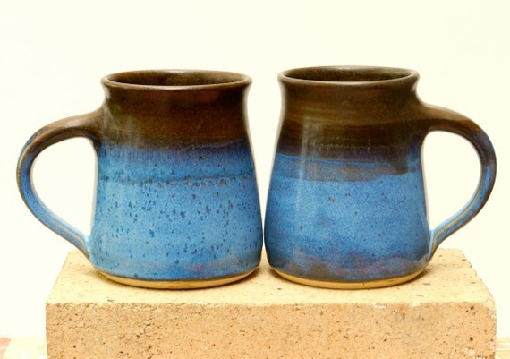 Great Couple Mug Pair, Chocolate and Blue,15 oz Stoneware,Microwave friendly, 10% Off